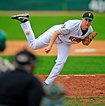 30 April 2009: University of Vermont Catamounts' right handed pitcher Harry Glynne, a Freshman from Hamden, CT, on the mound against the Siena College Saints at Historic Centennial Field in Burlington, Vermont. The Saints outscored the Catamounts 11-10 in the afternoon matchup. The Catamounts are playing their last season of baseball, as the program has been marked for elimination due to budgetary constraints at the University. Mandatory Photo Credit: Ed Wolfstein Photo