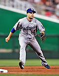 23 April 2010: Los Angeles Dodgers' infielder Jamey Carroll in action against the Washington Nationals at Nationals Park in Washington, DC. The Nationals defeated the Dodgers 5-1 in the first game of their 3-game series. Mandatory Credit: Ed Wolfstein Photo