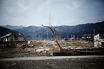 Yamada, February 24 2012 - Landscape of the devasted area of Kitahamacho district of Yamada city, Iwate prefecture. One year after the tsunami, debris were removed but the area is still not rebuilt.