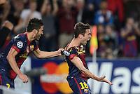 FUSSBALL   INTERNATIONAL   CHAMPIONS LEAGUE   2012/2013      FC Barcelona - Celtic FC Glasgow       23.10.2012 JUBEL Barca nach dem Siegtor zum 2-1 in der letzten Spielminute; Torschuetze Jordi Alba (re) umarmt von David Villa (li)