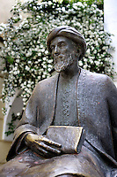 Moses ben Maimon, known as Maimonides (Cordoba 1135 ? Egypt 1204); Sculpture on pedestal located in the Jewish Quarter, Cordoba, Andalusia, Spain; Great Jewish scholar, philosopher and physician; Forced to flee with his family to Fez at the age of twenty-three to escape religious persecution at the hands of the fanatical Almohads in al-Andalus Picture by Manuel Cohen