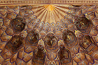 Detail of gilded decoration, in geometric pattern, on the cupola ceiling, in the Gur-Emir Mausoleum, 1404, Samarkand, Uzbekistan, pictured on July 14, 2010.  Samarkand, a city on the Silk Road, founded as Afrosiab in the 7th century BC, is a meeting point for the world's cultures. Its most important development was in the Timurid period, 14th to 15th centuries.