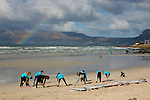 Africa, South Africa, Muizenberg. Surf instruction at Muizenberg Beach near Cape Town.