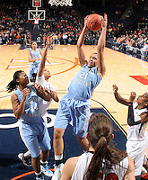 CHARLOTTESVILLE, VA- JANUARY 5: Krista Gross #21 of the North Carolina Tar Heels grabs a rebound during the game against the Virginia Cavaliers on January 5, 2012 at the John Paul Jones arena in Charlottesville, Virginia. North Carolina defeated Virginia 78-73. (Photo by Andrew Shurtleff/Getty Images) *** Local Caption *** Krista Gross