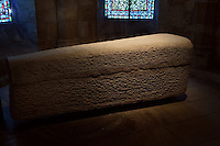 Sarcophagus of Aregund, end of the 6th century, crypt, Abbey church of Saint Denis, Seine Saint Denis, France. Picture by Manuel Cohen