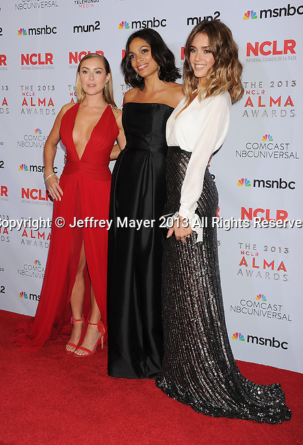 PASADENA, CA- SEPTEMBER 27: (L-R) Actresses Alexa Vega, Rosario Dawson and Jessica Alba pose in the press room at the 2013 NCLA ALMA Awards at Pasadena Civic Auditorium on September 27, 2013 in Pasadena, California.
