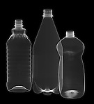 X-ray image of three plastic bottles (white on black) by Jim Wehtje, specialist in x-ray art and design images.