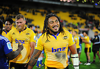Ma'a Nonu is all smiles after the Super Rugby match between the Hurricanes and Stormers at Westpac Stadium, Wellington, New Zealand on Friday, 2 April 2015. Photo: Dave Lintott / lintottphoto.co.nz