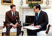United States President Ronald Reagan meets with Foreign Minister Boutrous Ghali of Egypt in the Oval Office of the White House in Washington, D.C. on Friday, April 15, 1983..Mandatory Credit: Karl H. Schumacher - White House via CNP