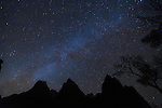 The Milky Way Galaxy at night inside the Zion National Park.