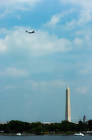 The only remaining airworthy Boeing B-29 Superfortress makes its way toward the Washington Monument during the Arsenal of Democracy flyover