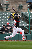 Rochester Red Wings designated hitter Byron Buxton (53) bats against the Scranton Wilkes-Barre Railriders on May 1, 2016 at Frontier Field in Rochester, New York. Red Wings won 1-0.  (Christopher Cecere/Four Seam Images)
