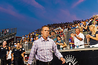 Philadelphia Union manager John Hackworth enters the field prior to the start of the match. The Philadelphia Union defeated D. C. United 2-0 during a Major League Soccer (MLS) match at PPL Park in Chester, PA, on August 10, 2013.