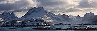 Selfjord and mountains of Moskenesoya in winter, Lofoten islands, Norway