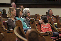 NWA Democrat-Gazette/BEN GOFF @NWABENGOFF<br /> Whitney Mann (from left), daughter Nevlyn Mann, mother Debbie Weaver and daughter Tatum Mann, 7, have a laugh on Sunday March 13, 2016 during the Laughter Sunday service at First United Methodist Church in Rogers.