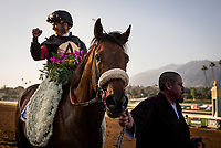 ARCADIA, CA - MARCH 11: Jockey, Javier Castellano after winning the Santa Anita Handicap at Santa Anita Park on March 11, 2017 in Arcadia, California. (Photo by Alex Evers/Eclipse Sportswire/Getty Images)