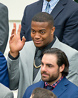 New England Patriots defensive end Trey Flowers (98) acknowledges the call-out from United States President Donald J. Trump as the Super Bowl Champion New England Patriots were welcomed to the South Lawn of White House in Washington, DC on Wednesday, April 19, 2917.<br /> Credit: Ron Sachs / CNP/MediaPunch<br /> <br /> (RESTRICTION: NO New York or New Jersey Newspapers or newspapers within a 75 mile radius of New York City)