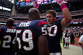Houston, Texas<br /> October 2, 2011<br /> <br /> Houston Texas player Anderson Charlie, linebacker and DeMeco Ryans take to the field as the game begins.<br /> <br /> The Houston Texans defeated the Pittsburgh Steelers at the Reliant Stadium 17 to 10.