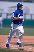Rob Segedin (26) of the Oklahoma City Dodgers rounds the bases after hitting a home run during a game against the Iowa Cubs at Chickasaw Bricktown Ballpark on April 9, 2016 in Oklahoma City, Oklahoma.  Oklahoma City defeated Iowa 12-1 (William Purnell/Four Seam Images)