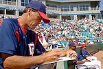 18 March 2006: Randy St. Claire, pitching coach for the Washington Nationals, takes notes during a Spring Training game against the New York Mets at Space Coast Stadium, in Viera, Florida. The Nationals defeated the Mets 10-2 in Grapefruit League play...Mandatory Photo Credit: Ed Wolfstein Photo..
