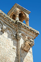 Medieval architectural details of Gargoils on the  Italian Gothic Cathedral of Ostuni built between 1569-1495  .Ostuni, The White Town, Puglia, Italy.
