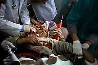 Rafah, Gaza Strip, Jan 15 2009.Layla Abul Hussein, 60, was hit in the neck and the chest by shrapnel from an Israeli shell while siting inside her house in Hay Nasser, near Rafah..