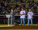 1 April 2016: Montreal baseball broadcaster Marc Griffin introduces  former Montreal Expos Ellis Valentine (left) and Marquis Grissom (right) during pre-game ceremonies prior to an exhibition game between the Boston Red Sox and the Toronto Blue Jays at Olympic Stadium in Montreal, Quebec, Canada. The Red Sox defeated the Blue Jays 4-2 in the first of two MLB weekend exhibition games, which saw an attendance of 52,682 at the former home on the Montreal Expos. Mandatory Credit: Ed Wolfstein Photo *** RAW (NEF) Image File Available ***