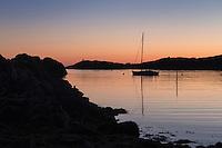Sailboat anchorage at Buvågen bay at Helle on the westernmost tip of Moskenesøy, Lofoten Islands, Norway