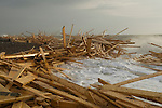 "The beach at Worthing, West Sussex, England. Planks of wood from the freighter the ""Ice Prince"" which sank in rough weather on January 15th, came ashore a week later. January 21 2008."