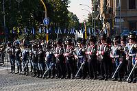 Roma 8 Settembre 2012.Commemorazione della resistenza  dell'8 settembre 1943 a Porta San Paolo a Roma..I granatieri di Sardegna con l'uniforme storica del 1848