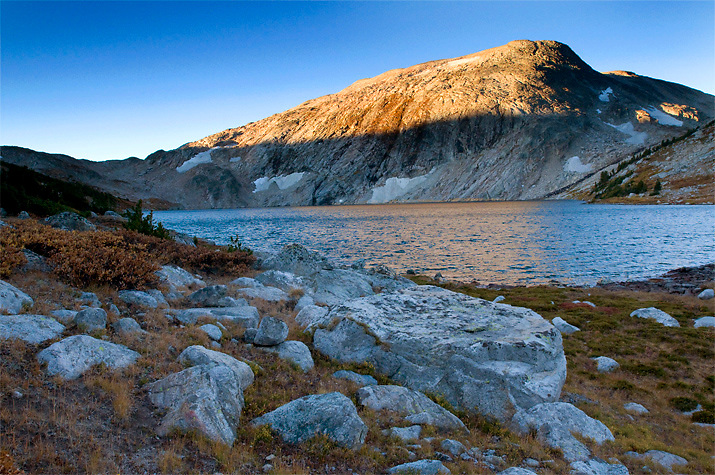 Dennis Lake rests just below the Continental Divide in the Wind River Range, Wyoming.