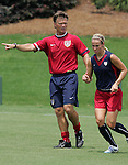 29 July 2006: Head coach Greg Ryan (left) and Heather Mitts (right). The United States Women's National Team trained at SAS Soccer Park in Cary, North Carolina, in preparation for an International Friendly match against Canada to be played on Sunday, July 30.