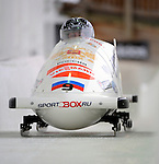 15 December 2007: Russia 1 pilot Victoria Tokovaya, with Olga Fedorova on the brakes, head down the straightaway towards Turn 16 during their second run of the FIBT World Cup Bobsled Competition at the Olympic Sports Complex on Mount Van Hoevenberg, at Lake Placid, New York, USA. ..Mandatory Photo Credit: Ed Wolfstein Photo