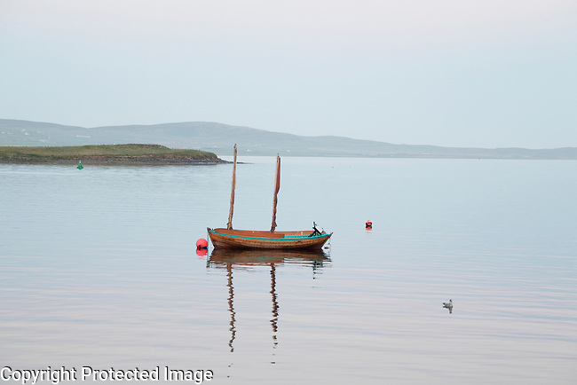 Boat on the Sea at the Orkney Islands, Scotland