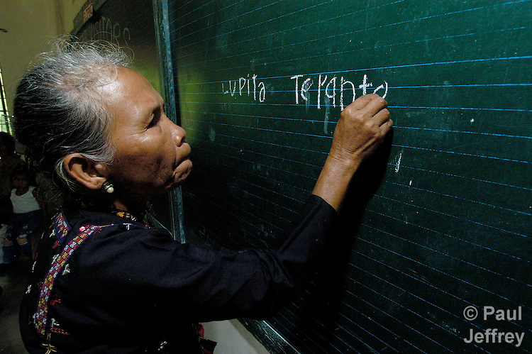 65-year old Lupita Terante is learning how to read and write in a Catholic Church-sponsored program in Tandawan, on the southern Philippine island of Mindanao.