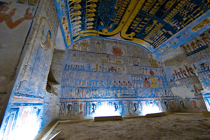 Hieroglyphics, Tomb of Ramses V and VI, Valley of the Kings Archaeological site, near Luxor, Egypt