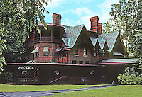 "Hartford: Mark Twain House, 1874. Edward Tuckerman, Architect. Farmington Ave. The Clemonses lived here until 1891. Twain wrote ""Tom Sawyer and Huckleberry Finn"" here. Photo '91."