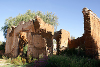 Ruined mining building in the 19th century mining town of Mineral de Pozos, Guanajuato, Mexico.