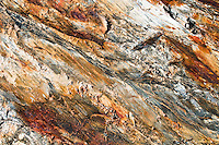Colours and patterns on mineralized rock under Brewster Glacier, Mt. Aspiring National Park, South Westland, World Heritage Area, New Zealand