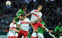 FUSSBALL   1. BUNDESLIGA   SAISON 2012/2013   4. SPIELTAG SV Werder Bremen - VfB Stuttgart                         23.09.2012        Sokratis Papastathopoulos (li, SV Werder Bremen) gegen  Christian Molinaro (Mitte) und Georg Niedermeier (re, beide VfB Stuttgart)