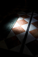 A detail of a tiled floor in the Parador hotel, Hostal dos Reis Catolicos