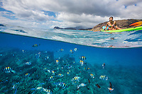 Woman kayaking over reef fish, with West O'ahu in background
