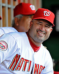 10 July 2008: Washington Nationals' Manager Manny Acta looks down the dugout during a game against the Arizona Diamondbacks at Nationals Park in Washington, DC. The Diamondbacks defeated the Nationals 7-5 in 11 innings to take the rubber match of their 3-game series in the Nation's Capitol...Mandatory Photo Credit: Ed Wolfstein Photo