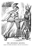 """The Abyssinian Question. Britannia. """"Now, then, King Theodore! How about those prisoners?"""""""