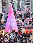 Toronto Eaton Centre shopping mall winter holiday season Christmas tree decoration in 2012. Toronto, Ontario, Canada.