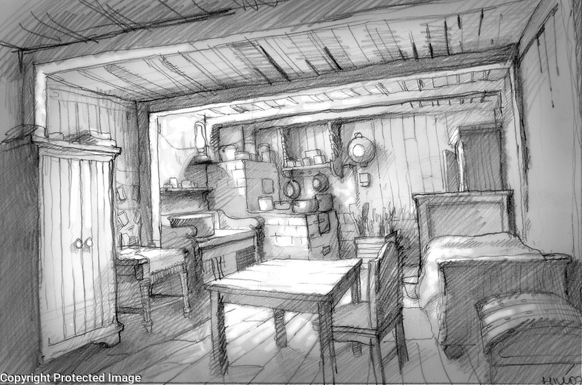 This is a preliminary sketch of the interior of the Jewish couple's home.