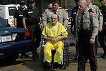 Edgar Ray Killen arrives for the sentencing in his triple manslaughter case  heavily gurded and not handcuffed in his yellow Neshoba County prison jumpsuit,Thursday June 23,2005 in Philadelphia,Ms.(Photo/Suzi Altman)