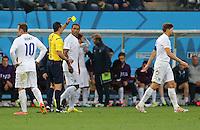 England's Steven Gerrard is booked