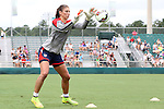 19 August 2014: Hope Solo. The United States Women's National Team held a public training session at WakeMed Stadium in Cary, North Carolina.