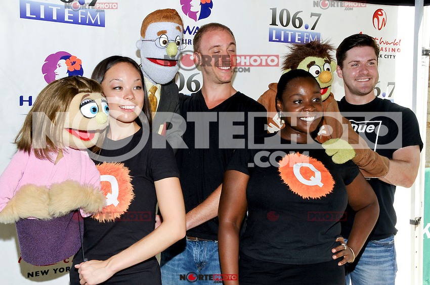 "NEW YORK - AUGUST 16: Cast of ""Avenue Q"" backstage during 106.7 Lite FM Presents Broadway in Bryant Park on August 16, 2012 in New York City. (Photo by MPI81/MediaPunchInc)"